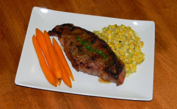 Double Lamb Chops, carrots, and corn maque choux a la Kathy | On Your ...