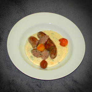 Luganega & Polenta with oven roasted tomatoes